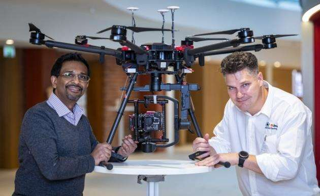 Hiran Vegad sales specialist Analytik, left, and Richard Welton Texo Drone. Drones are used to establish how crops are growing and conditions on the ground. Picture: Keith Heppell