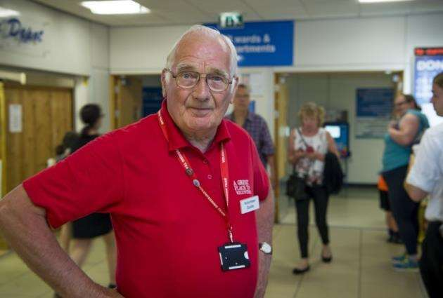 Volunteers at Addenbrookes, guide John Goddard. Picture: Keith Heppell