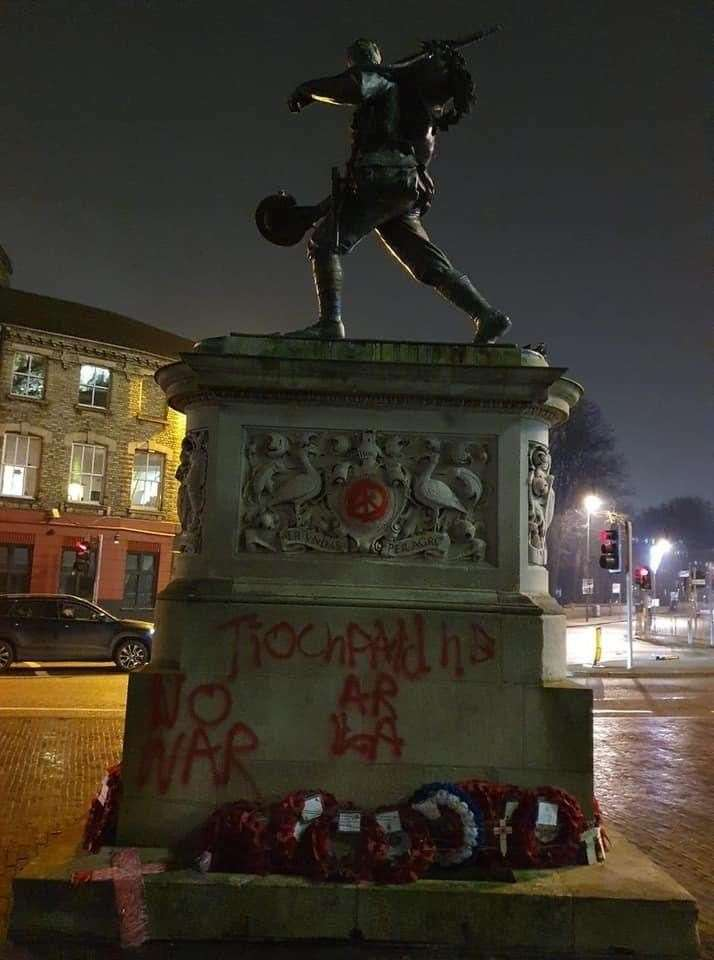Cambridge War Memorialhas been vandalised with a painted message. Pic: Richard Butler.