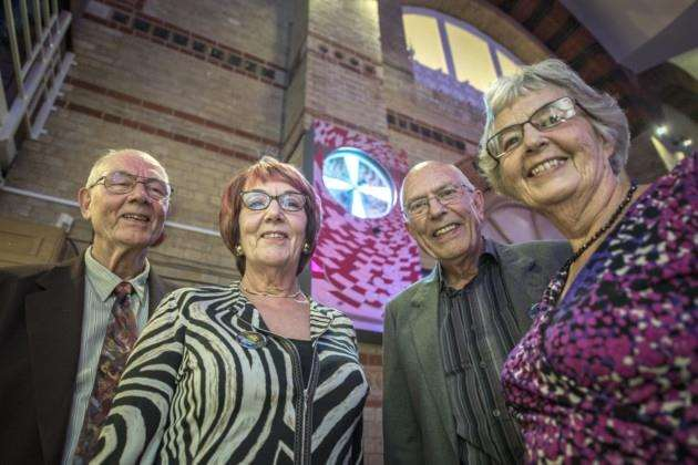 Unveiling of the Syd Barrett memorial in the Corn Exchange, his brothers and sisters unveiling the artwork. Picture: Keith Heppell