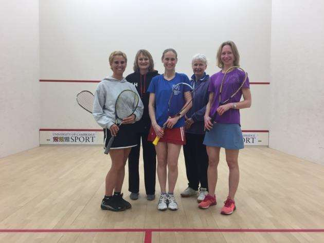Melbourn Squash Club victorious team - left to right, Debbie Thain, Lynne Hays, Sam Pluck, Frances Smith, Helen Tipping. Not pictured: Kate Bradshaw.
