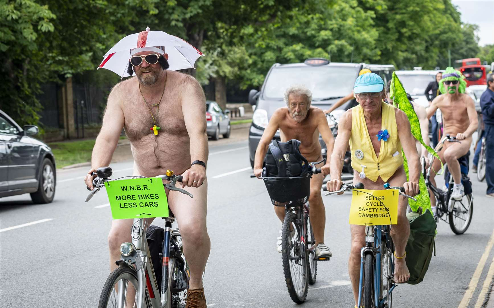 The Naked Bike Ride 2019 sets off from Midsummer Common. Picture: Keith Heppell