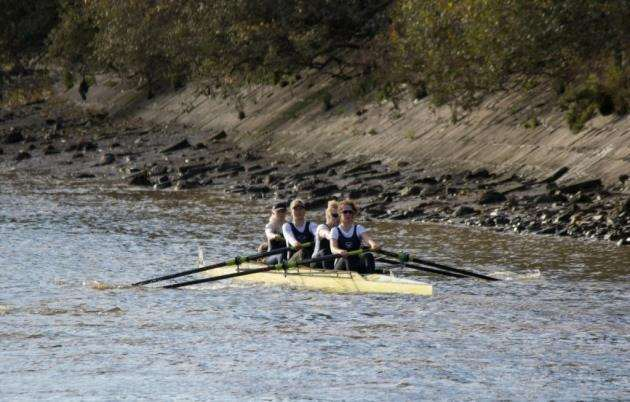 Cantabrigian Rowing Club Championship Coxed Fours crew at the Fours Head. Picture: Chris Radbone