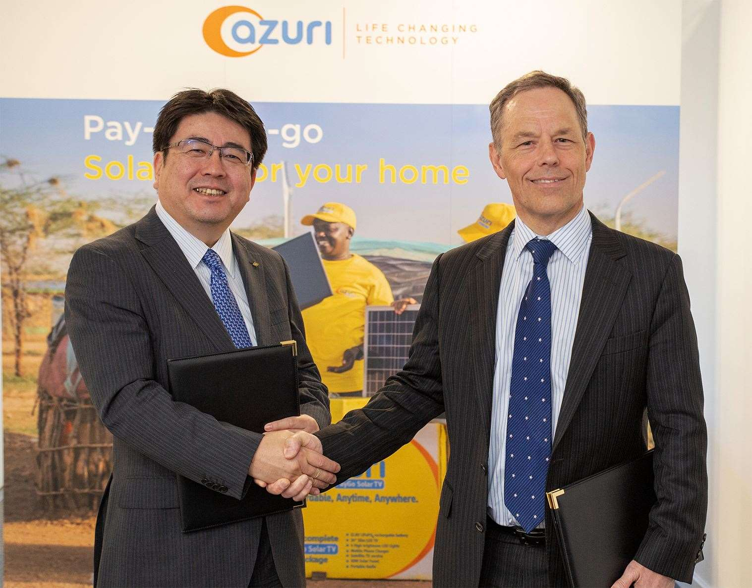 Yoshiaki Yokota, left, chief operating officer, power business division at Marubeni Corporation and Simon Bransfield-Garth, CEO of Azuri Technologies, at the official announcement in Milton (11728392)