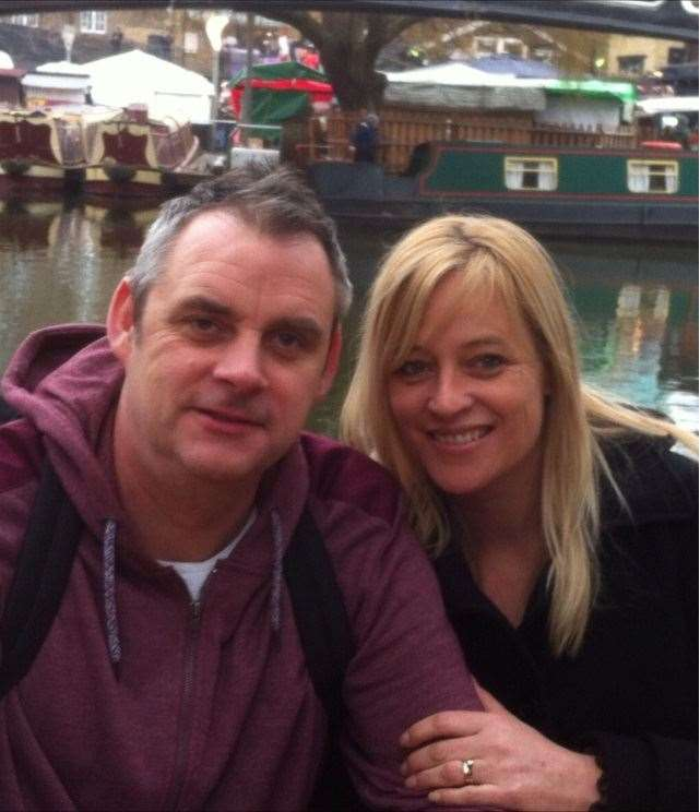 Simon Dobbin, from Mildenhall,was left with serious head injuries after being attacked in Southend. He is pictured with his wife Nicole.