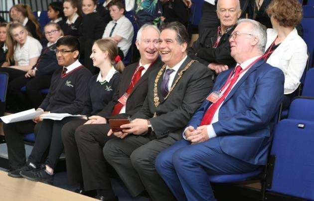 The Mayor of Cambridge, Cllr George Pippas, Daniel Zeichner MP and other invited guests take a tour of the North Cambridge Academy to mark five years since it transformed from The Manor School.Picture : Richard Marsham