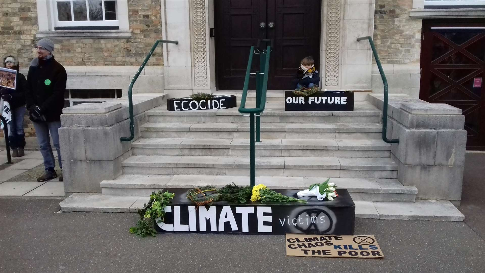 Extinction Rebellion at Shire Hall with help from Jason