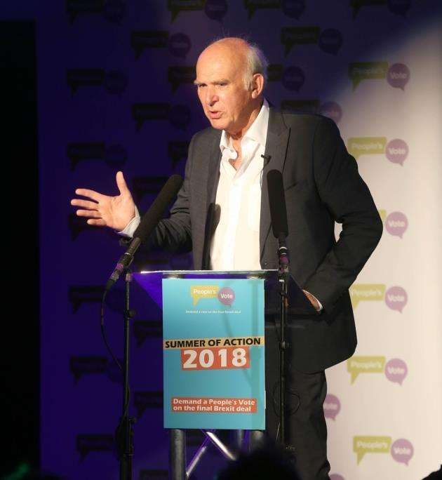Liberal Democrat leader Sir Vince Cable at the Peoples Vote rally in Cambridge. Picture: Richard Marsham