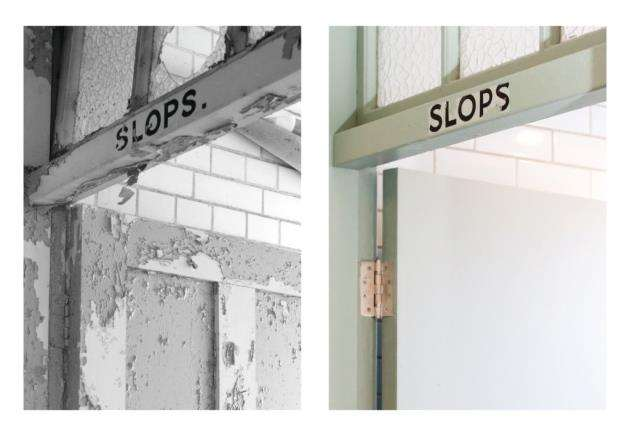 Slops room before and after the renovation work at The Officers Mess at Duxford
