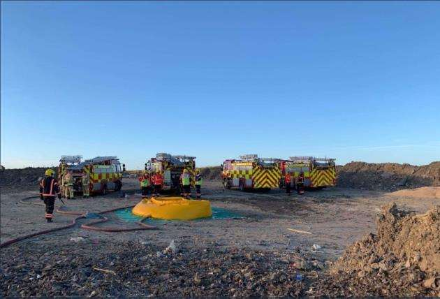 Fire crews tackle blaze at the Milton site. Picture: Cambs Fire and Rescue Service