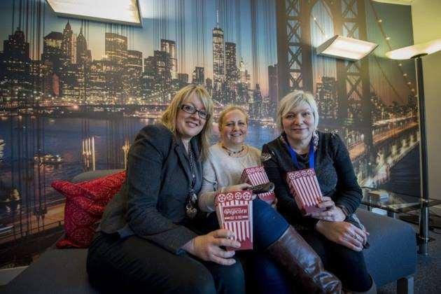 From left, Debbie Goffin, Niki Waters and Nicola Falconer at Premier Travel in the Brooklyn Room, complete with Netflix and popcorn Picture: Keith Heppell