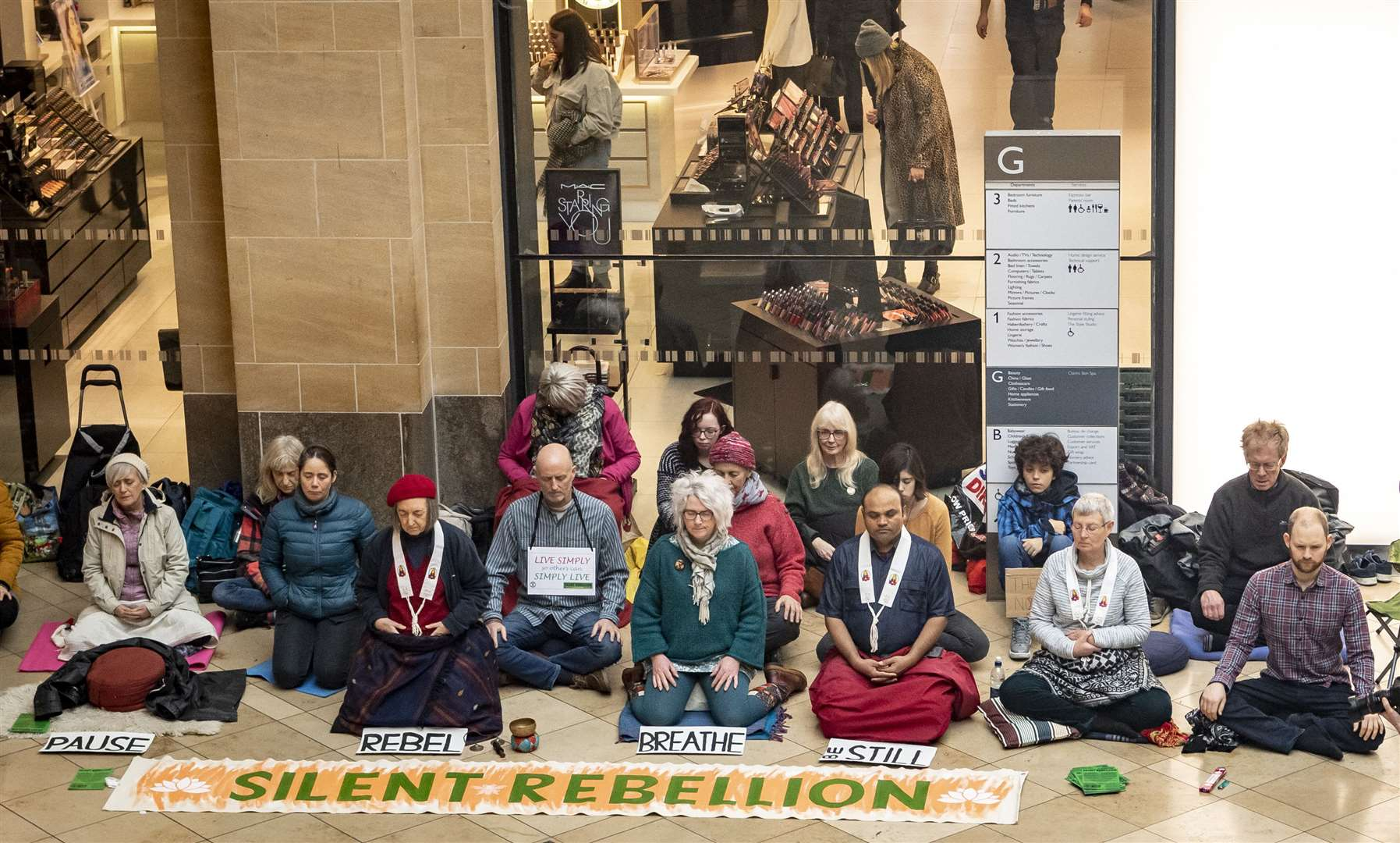 XR'sSilent Rebellion in the Grand Arcade. Picture: Keith Heppell