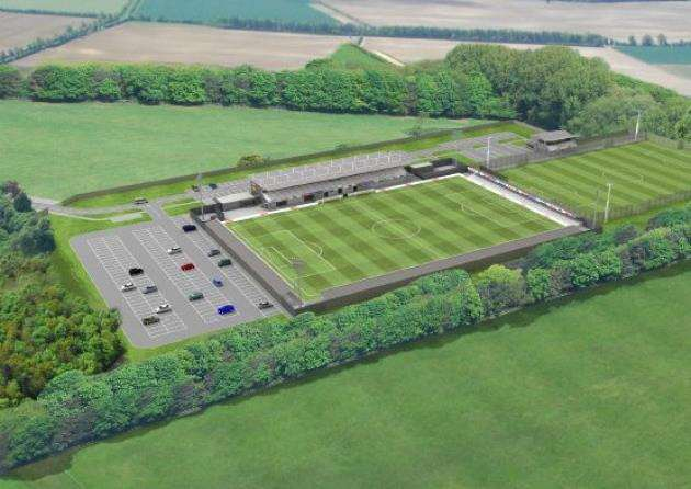 Artist impression of the Cambridge City FC Sawston football ground