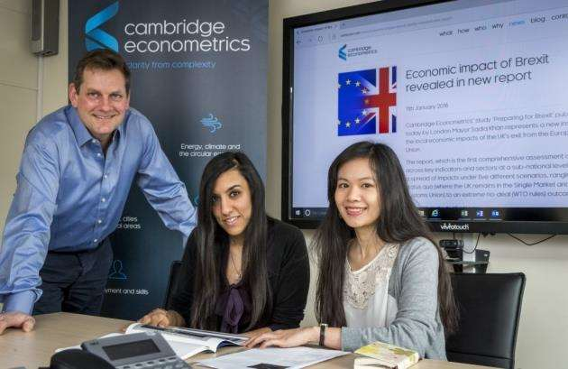 Ben Gardiner with Shyamoli Patel and Ha Bui who also worked on the Preparing for Brexit report. Picture: Keith Heppell