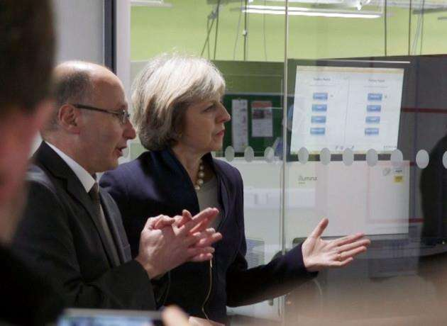 Prime Minister Theresa May at Wellcome Trust Genome Campus at Hinxton. Picture: Sanger Institute, Genome Research Ltd