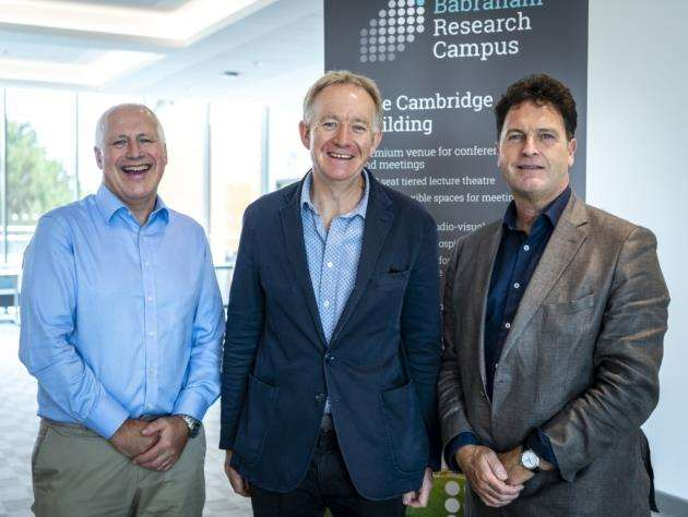 Congenica chairman Dr Andy Richards, left, with Dr Jonathan Milner and Derek Jones, chief executive of Babraham Research Campus. Picture: Keith Heppell
