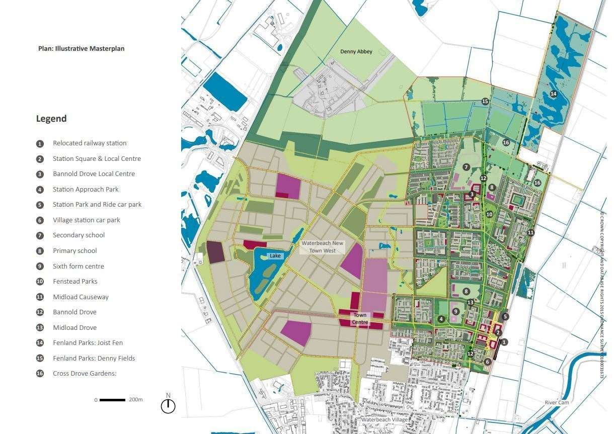 Waterbeach New Town site layout. Map: LDA Design/RLW Estates/Ordnance Survey
