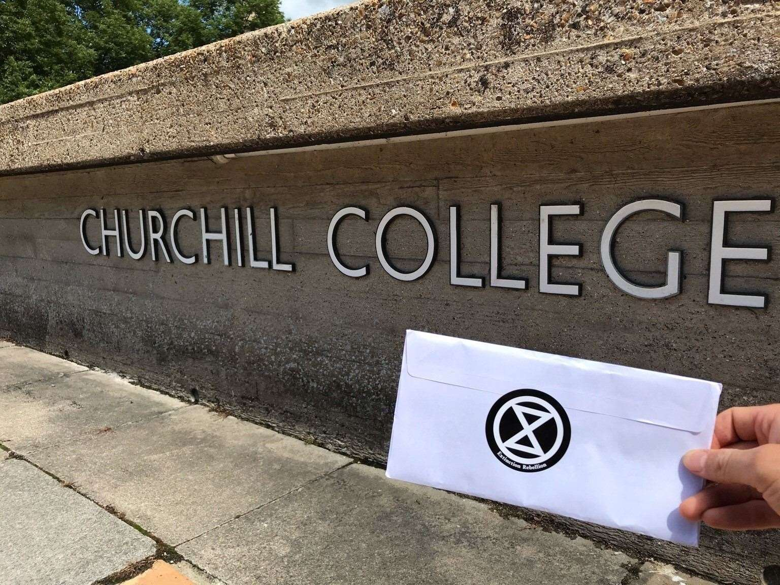 Extinction Rebellion at Churchill College on July 11, 2020. Picture: XR