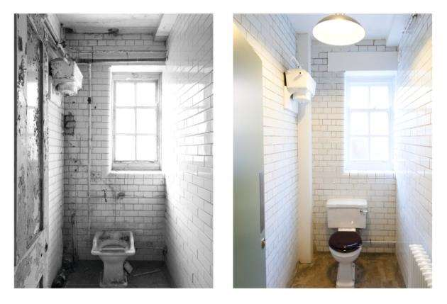 The toilets before and after the renovation at The Officers Mess at Duxford