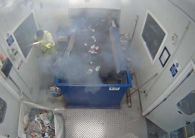 An Amey employee avoids serious injury after finding a marine flare in the recycling