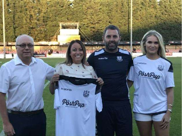 Cambridge City unveil their new sponsor, from left, chairman Kevin Satchell, Posh Pup Ltd owner Alison Farrington, City manager Robbie Nightingale and Miss Cambridge Shelley Allen.
