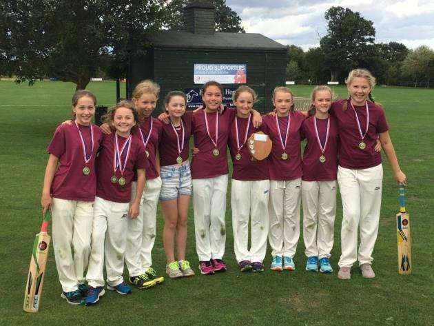 Coton under-13 girls cricket team.