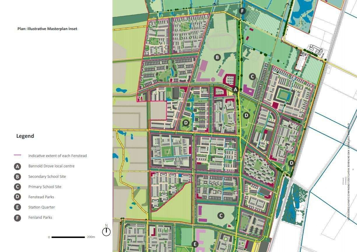 Waterbeach New Town site layout. Map: LDA Design/RLW Estates
