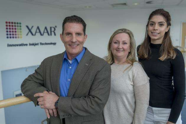 Xaar came 20th in the top 100. From left, Jim Brault, Lisa Cowdrey and Indie Gill at Xaar on Cambridge Science Park. Picture: Keith Heppell