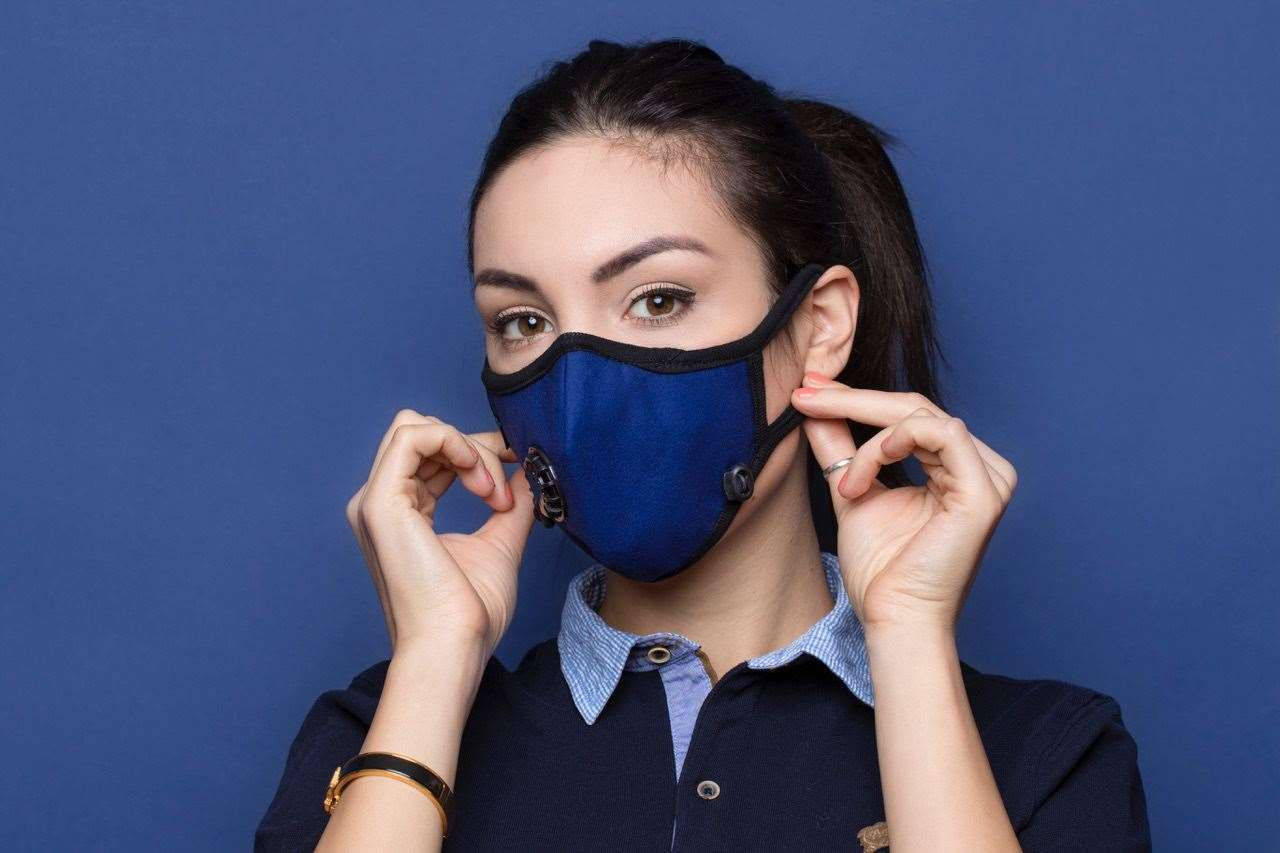 Model wearing a Cambridge Mask Company mask (31794471)