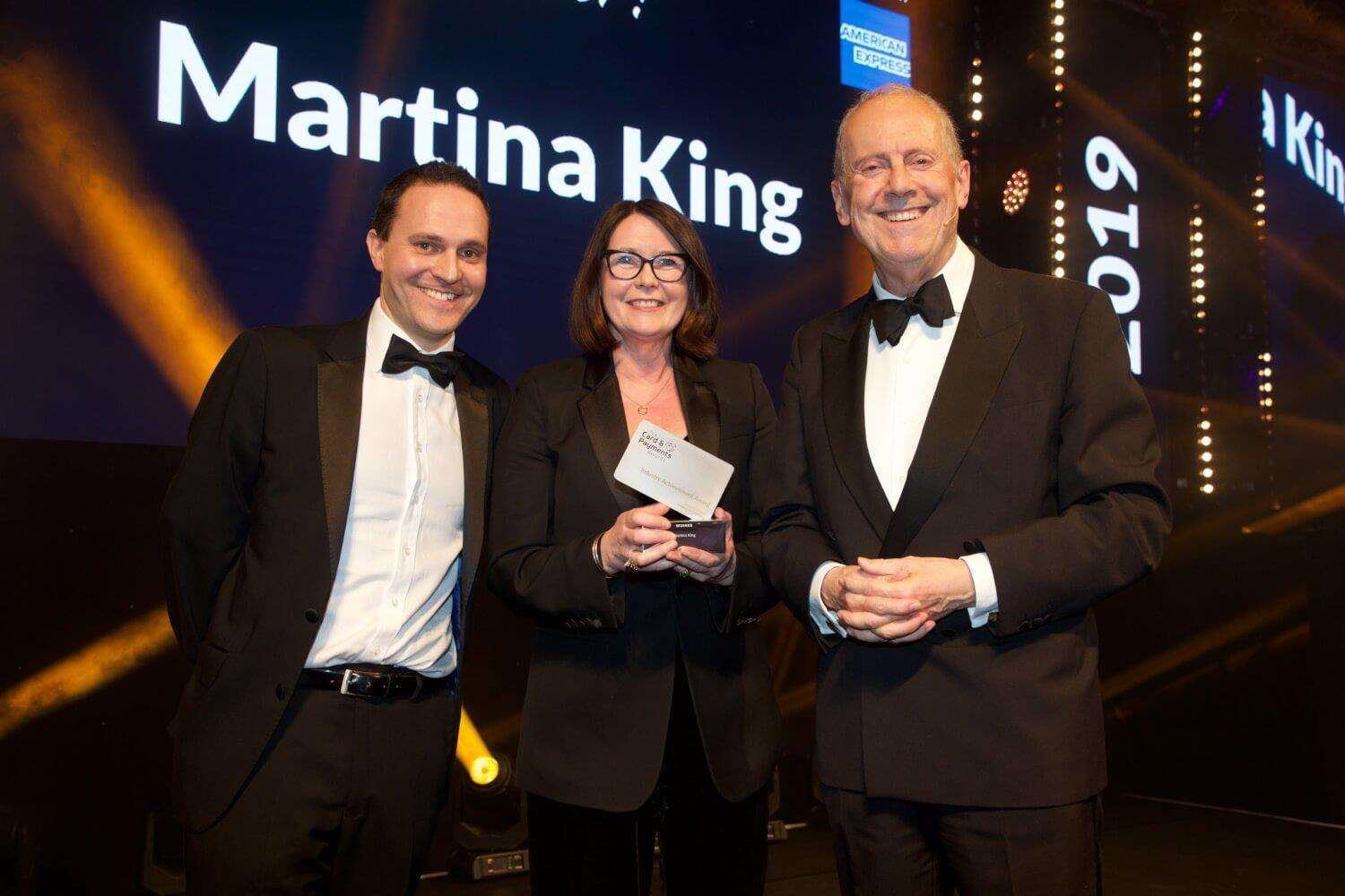 Featurespace CEO Martina King collects her Industry Achievement Award at the Card and Payment Awards 2019 (7169597)