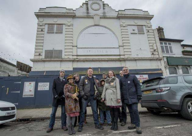 Campaigners against the plans for the Tivoli, Mitchams Corner, Cambridge . Picture: Keith Heppell
