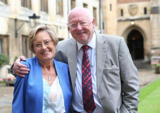 (L-R)Carol Town pictured with Professor John Wallwork who performed her lung transplant 30 years ago. Pic - Richard Marsham