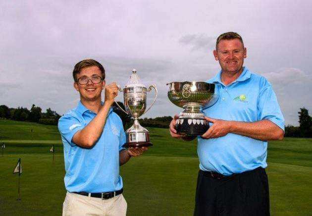 Jacob Gamble, left, of Saffron Walden GC winner of the John Durman Handicap Trophy and Stuart Brown of Nene Park GC winner of the Solopark County Open. Picture: Kevin Diss Photography