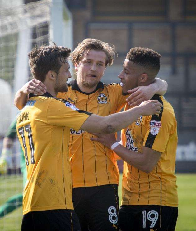 Cambridge United v Leyton Orient, Abbey Stadium, Newmarket Rd, Cambridge, Luke Berry scores. Picture: Keith Heppell