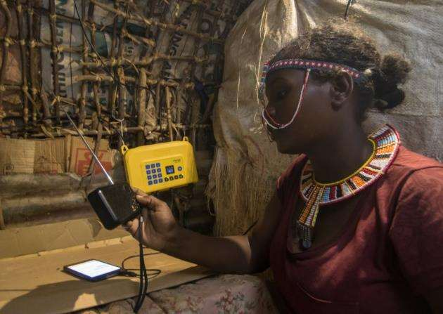 A pay-as-you-go solar home system from Azuri Technologies in use in Africa