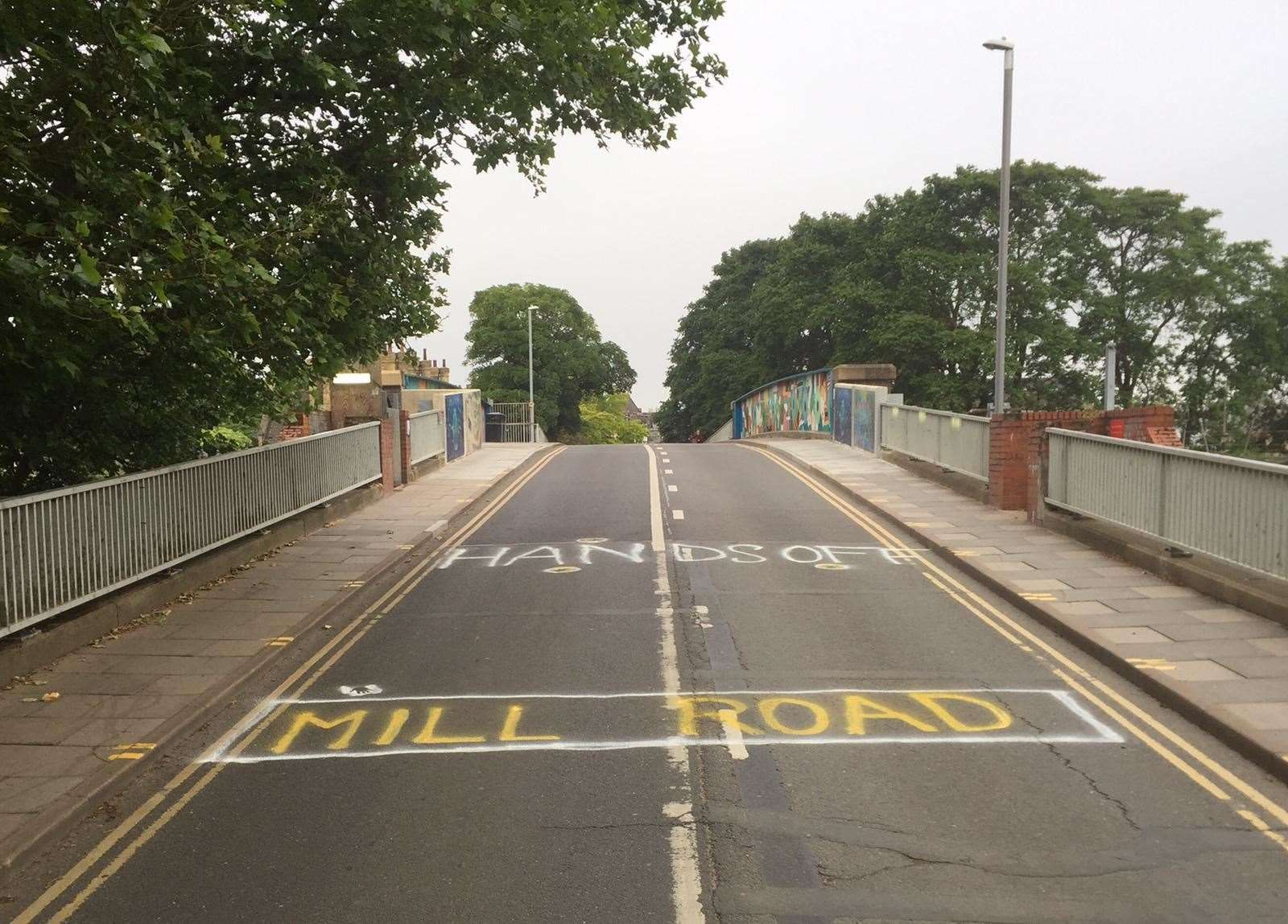 Hands off Mill Road Bridge - the protest sign appeared on the road last month