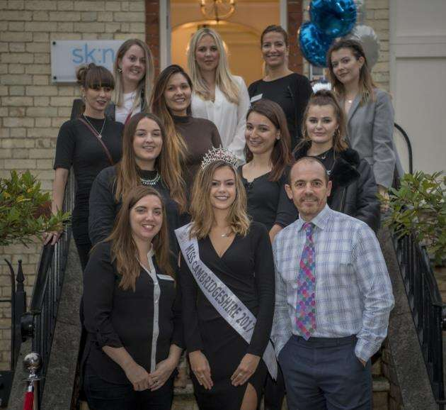 The clinic launch with Miss Cambridgeshire, Amy Johnson and the sk:n team. Picture: Keith Heppell