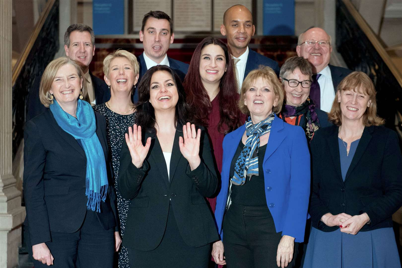 The independent group who went on to form Change UK. Back, from left, Chris Leslie, Gavin Shuker, Chuka Umunna and Mike Gapes. Middle row, from left, Angela Smith, Luciana Berger and Ann Coffey. Front row, from left, Sarah Wollaston, Heidi Allen, Anna Soubry and Joan Ryan.