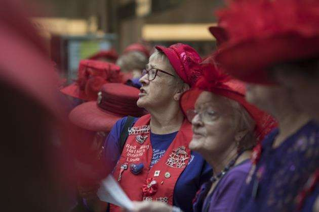 Red Hat ladies gather at the 5th European Hoot in the Grand Arcade. Picture: Keith Heppell