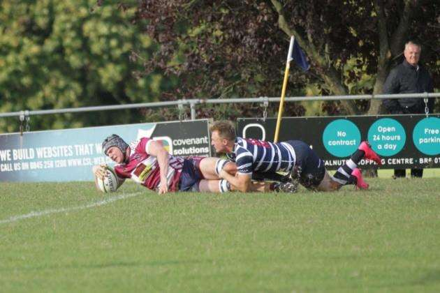 Shelfords Dave Hill touches down against Westcombe Park.