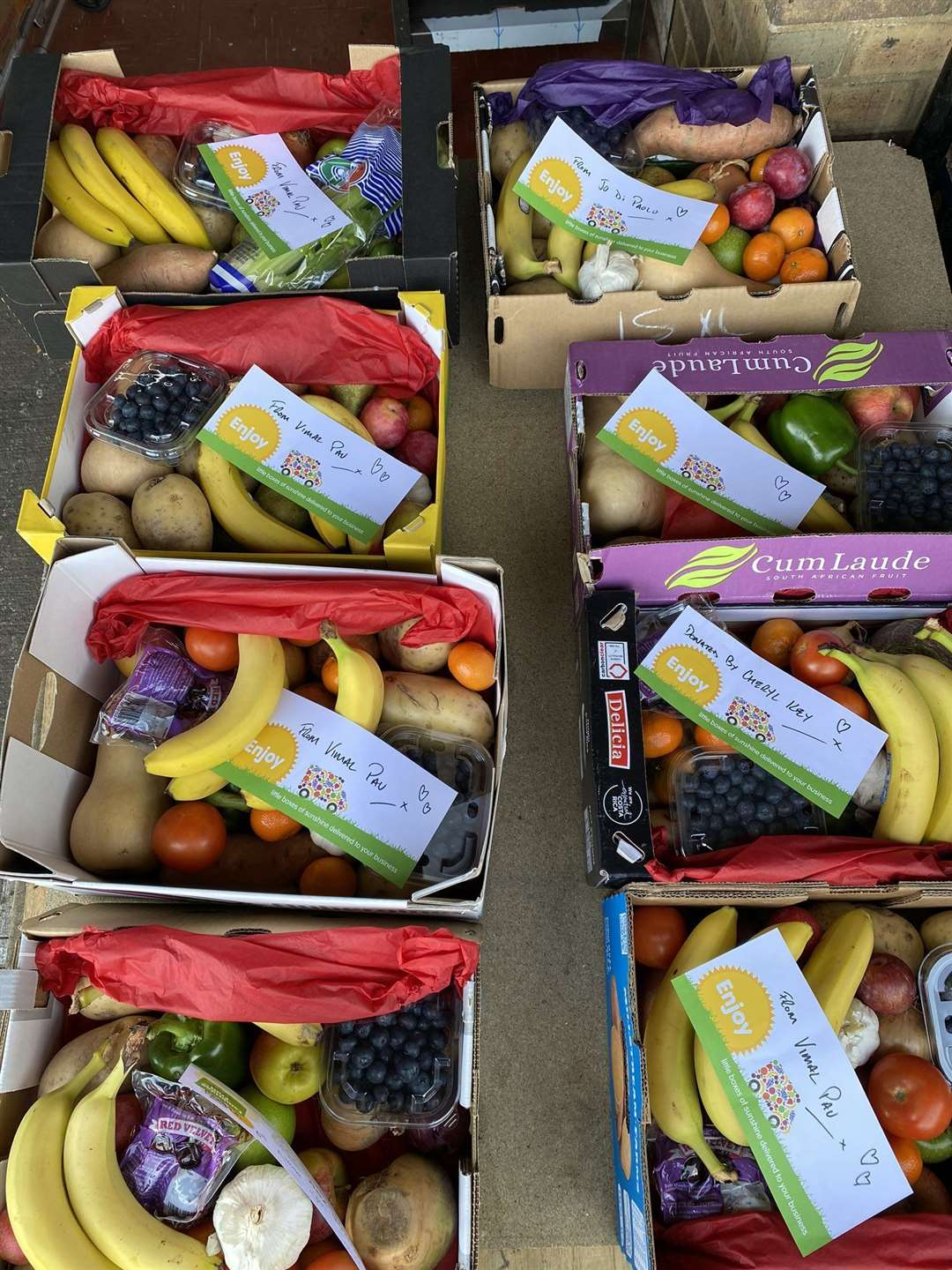 Fruit boxes delivered to charities by Cambridge Fruit Company. Picture: Neil Bharadwa(33354104)