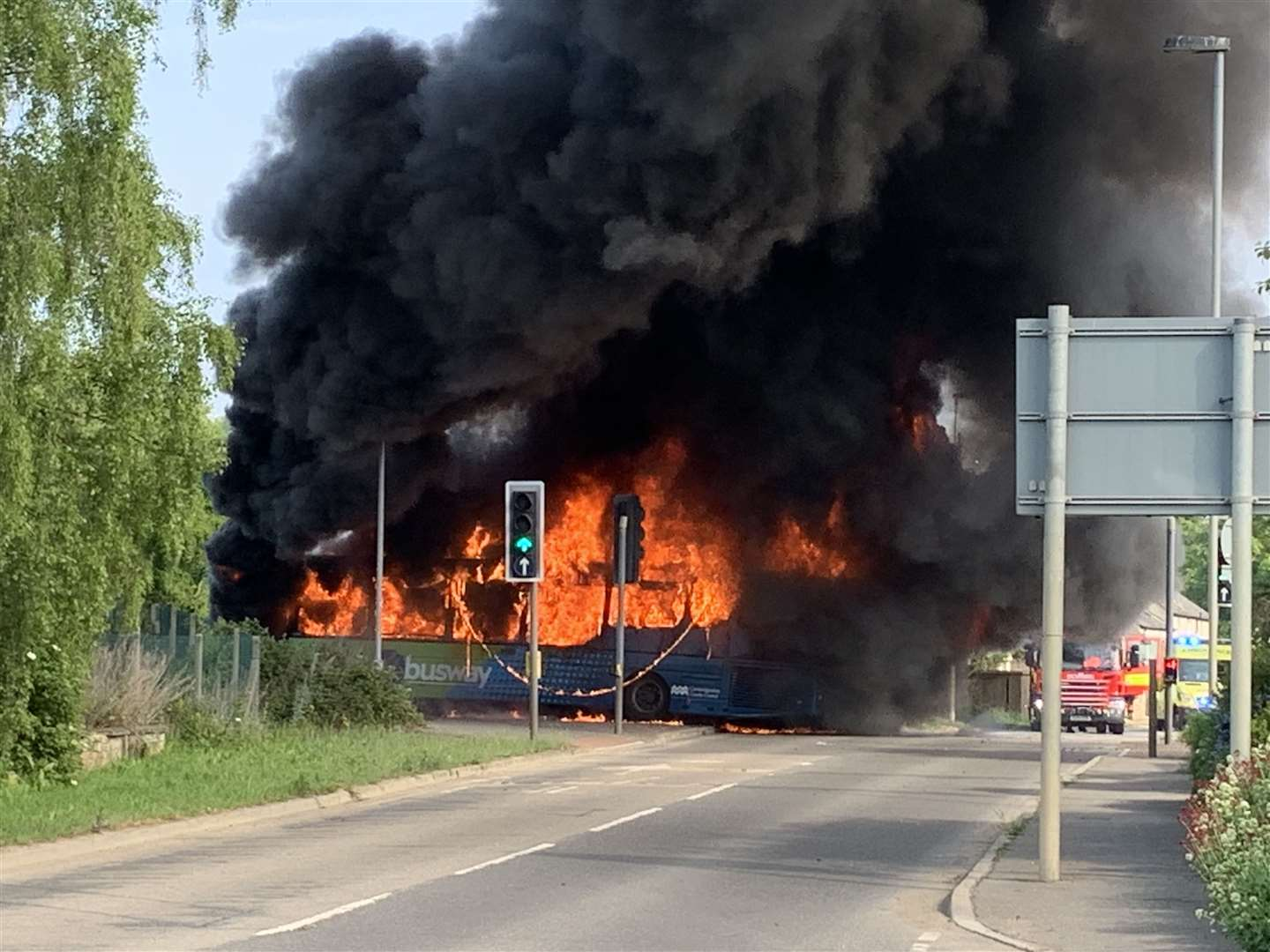 Plumes of smoke from the fire that destroyed a car and a bus on the guided busway. Pictures: Kyle Smithers (10725362)