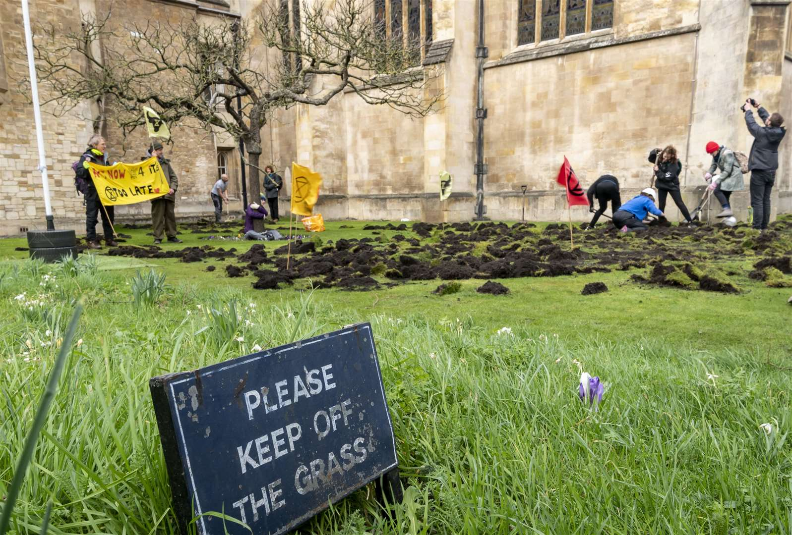 The Extinction Rebellion protest at Trinity College. Picture: Keith Heppell