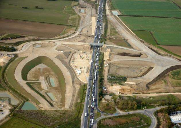 Aerial of new A14 in progress