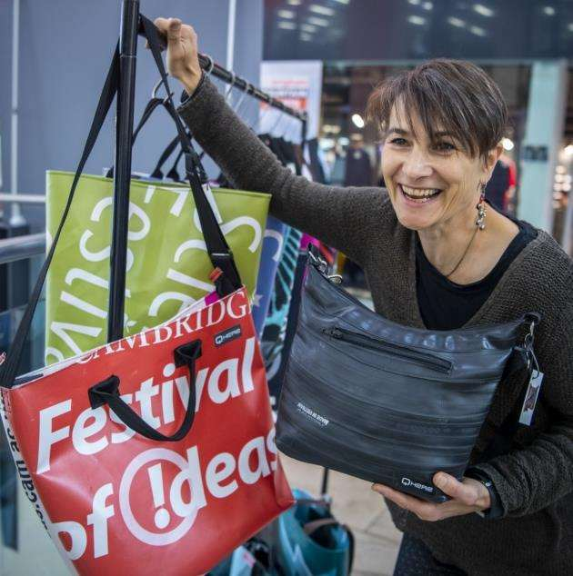 ECO Festival, Lion Yard Shopping Centre. Ruth Schmid from Qhere who make purses and bags from bikecycle inner tubes and shopping bags from old pull up displays. Picture: Keith Heppell