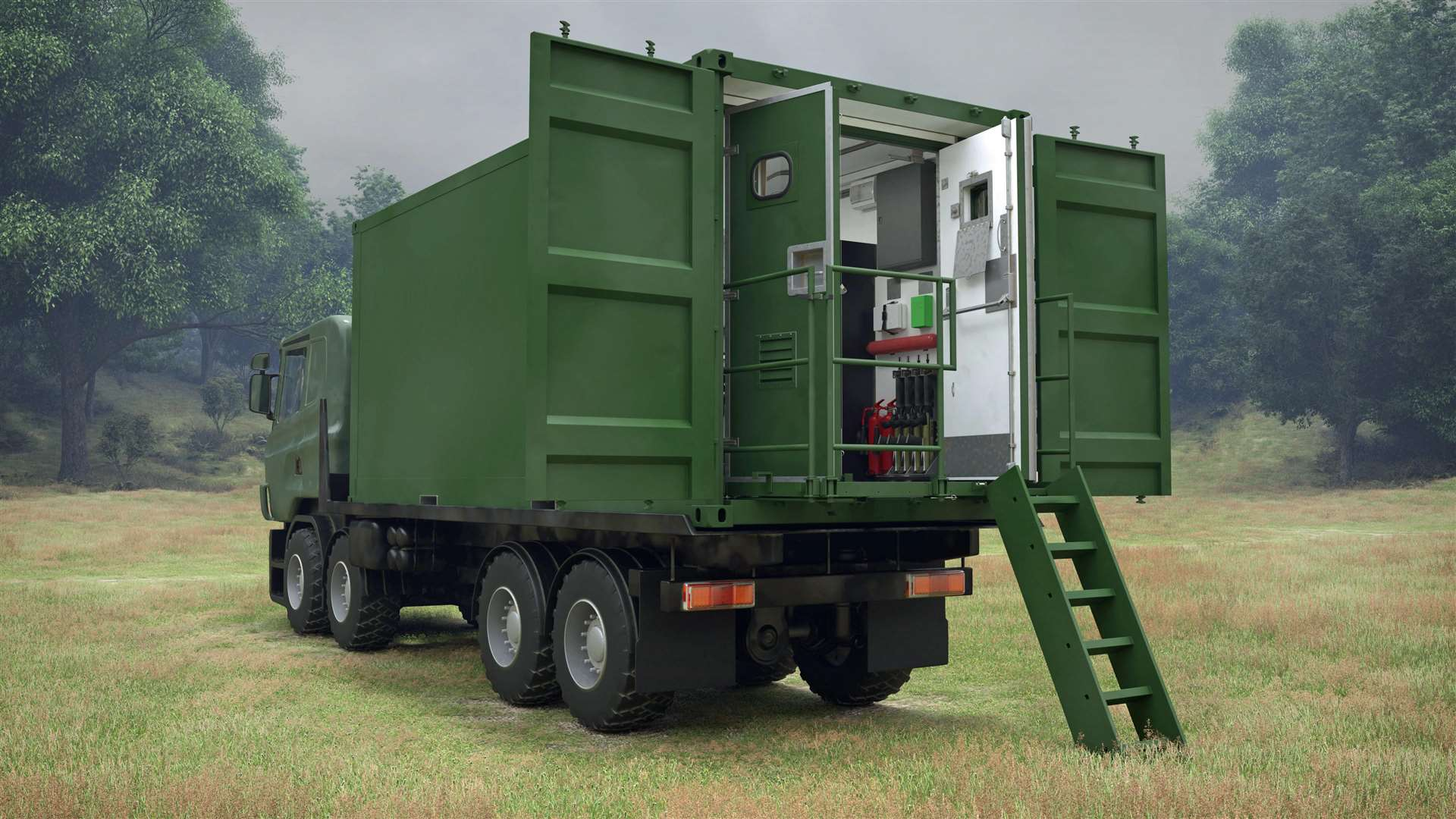 CAD images of the Deployable Office and Stores facilities for the Danish Armed Forces to be provided by Marshall Aerospace and Defence Group (7484353)