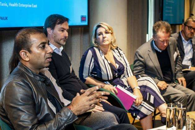 Nikhil Jain, ceo and co-founder of ObEN, left, on the panel at The Bradfield Centre. Picture: Keith Heppell