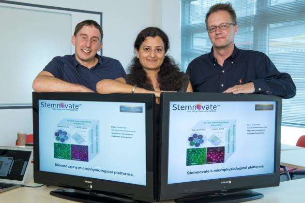 Stemnovate and ANB Sensors received £1m in funding from Innovate UK to progress the liver on a chip technology. From left, Nathan Lawrence, from ANB Sensors, Dr Ruchi Sharma, CEO of Stemnovate, and Adrian Fisher, from ANB Sensors. Picture: Keith Heppell