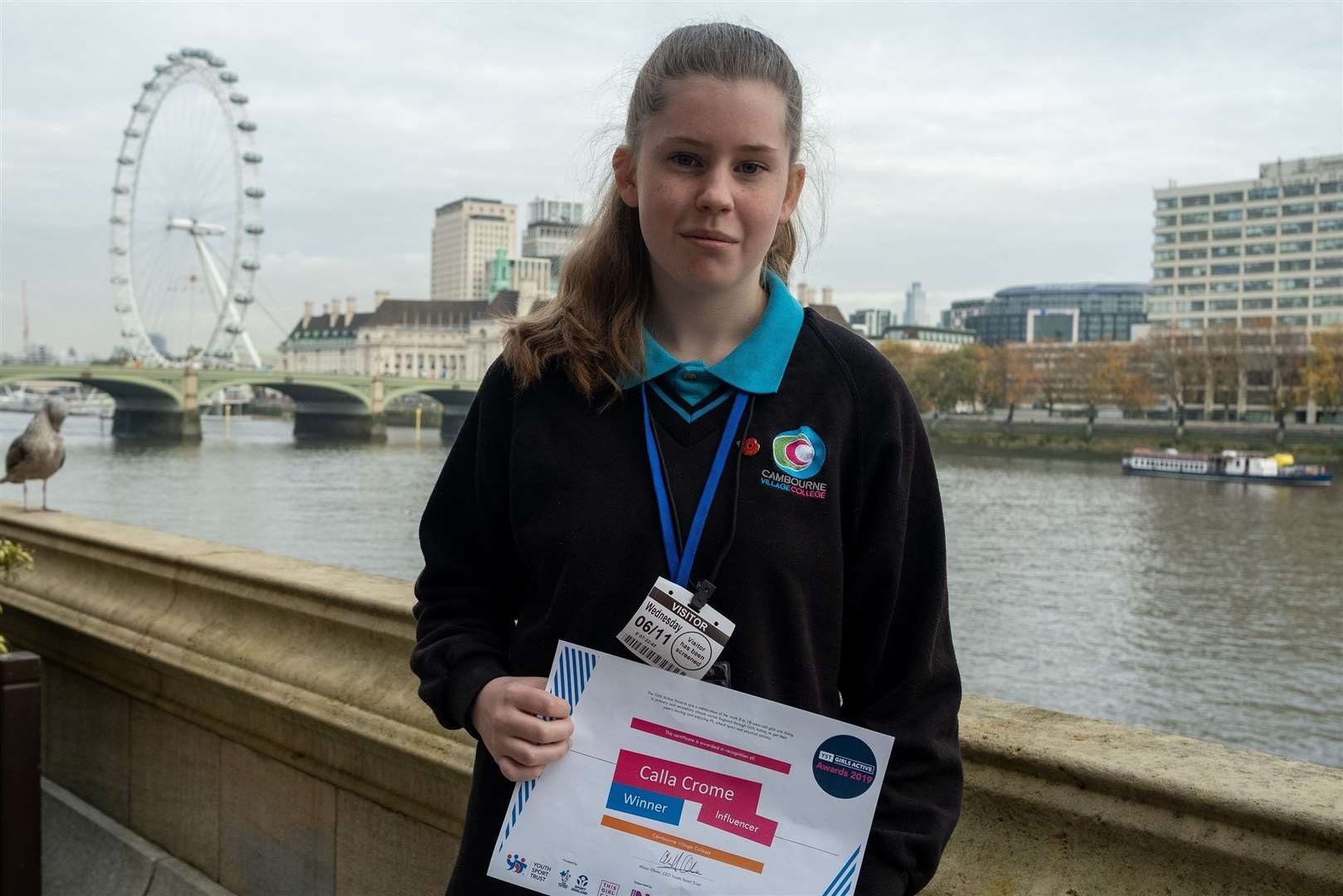 Cambourne Village College student Calla Crome at the Houses of Parliament. Picture: Isabel Dunmore (21192988)