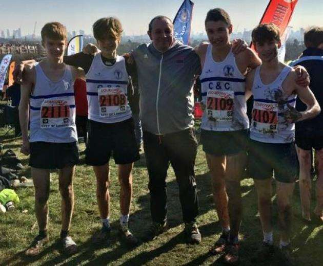 Cambridge & Coleridge Athletics Club members at the National Cross Country Championships.